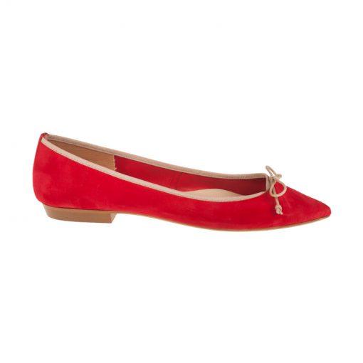 Bailarinas de ante rojas y beige | Toñi Mediavilla
