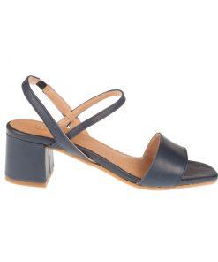 Sandalias color azul de piel cierre tobillo | Toñi Mediavilla