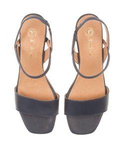 Sandalias azules de piel cierre tobillo | Toñi Mediavilla