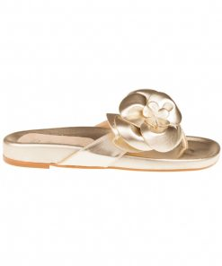 Sandalias planas de piel doradas | Toñi Mediavilla