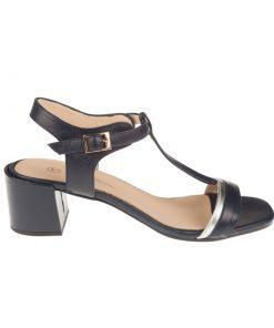 Sandalias de piel color azul hebilla | Toñi Mediavilla