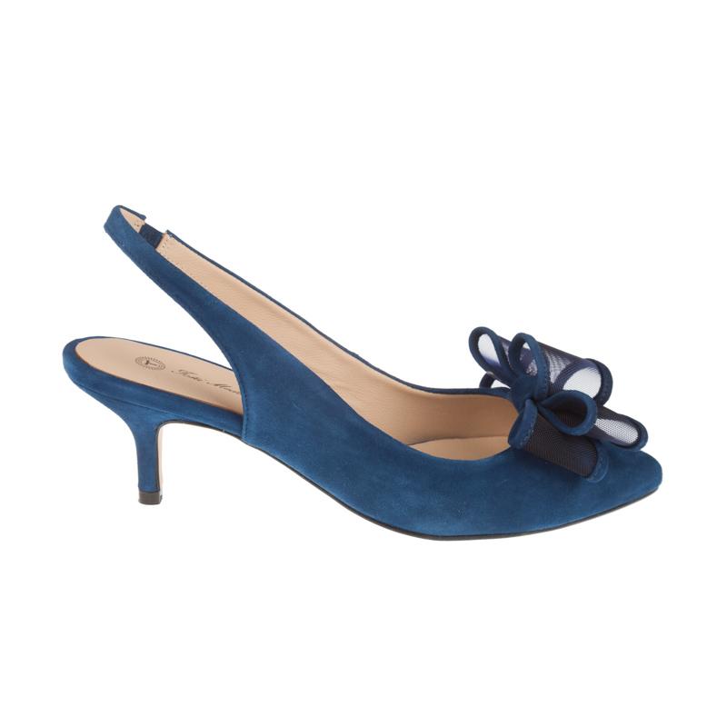 Stilettos de piel azules con moña | Toñi Mediavilla
