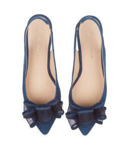Stilettos de ante azules con moña | Toñi Mediavilla