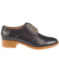 Zapatos planos de piel azules cordones | Toñi Mediavilla