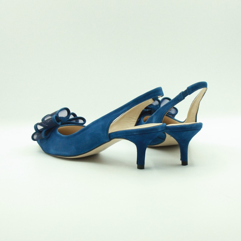 Stilettos de piel azules con moña | Toñi Mediavilla II